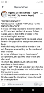 SS3 student proposed his English teacher