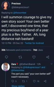 Nigerian Lady shocked after she found out her long time boyfriend was a reverend father.