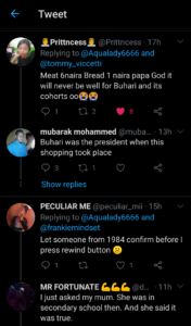 Nigerians react as lady show her mom's 1984 market list (see list).
