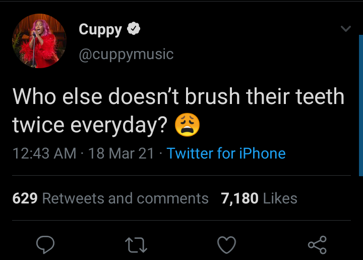 So na only money Cuppy get pass me she no neat- Man said after Dj Cuppy disclose she don't brush her teeth twice a day.