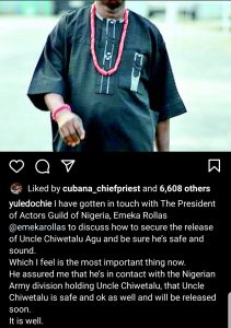 Actor Yul Edochie react and call for release of veteran actor Chiwetalu Agu from Nigerian Army.